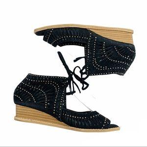 Jeffrey Campbell black suede studded sandals 6